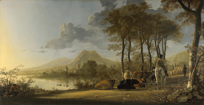 Обои парус, картина, Конинк Филипс, Пейзаж Широкой Реки, лодка. Разное foto 8
