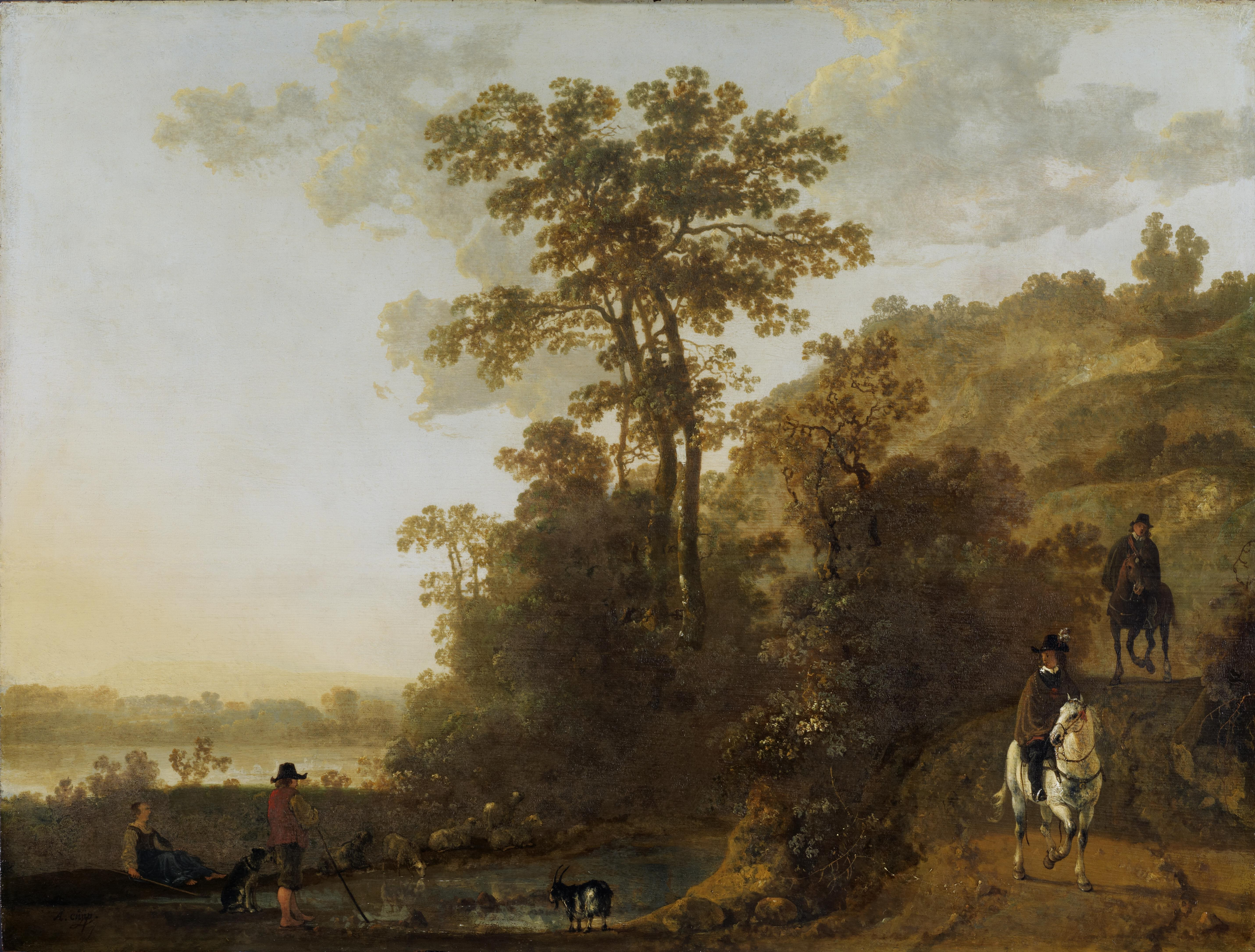 Обои парус, картина, Конинк Филипс, Пейзаж Широкой Реки, лодка. Разное foto 9