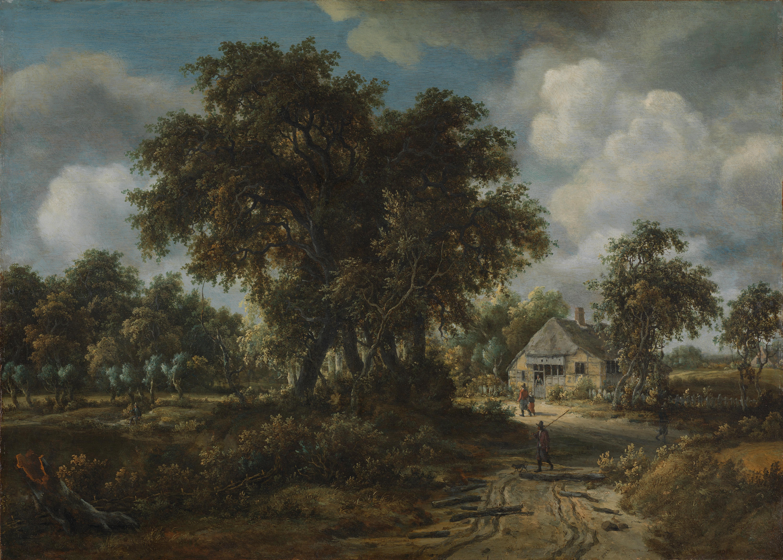 Обои парус, картина, Конинк Филипс, Пейзаж Широкой Реки, лодка. Разное foto 7