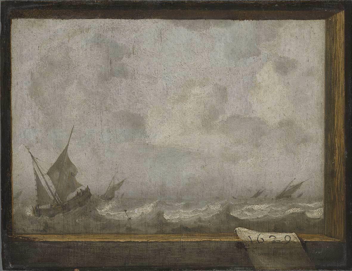 Обои парус, картина, Конинк Филипс, Пейзаж Широкой Реки, лодка. Разное foto 6